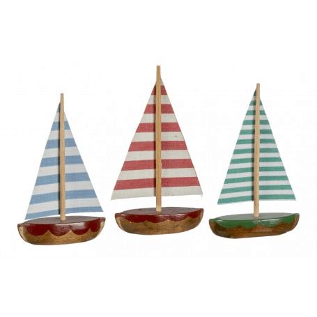 Holzschiffchen mit gestreiftem Segel