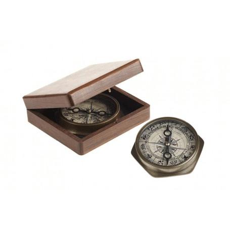 Kompass Hexagon von Aretsania im Holzkästchen