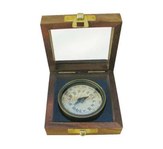 Sonnenuhr-Kompass mit Holzbox von Sea Club