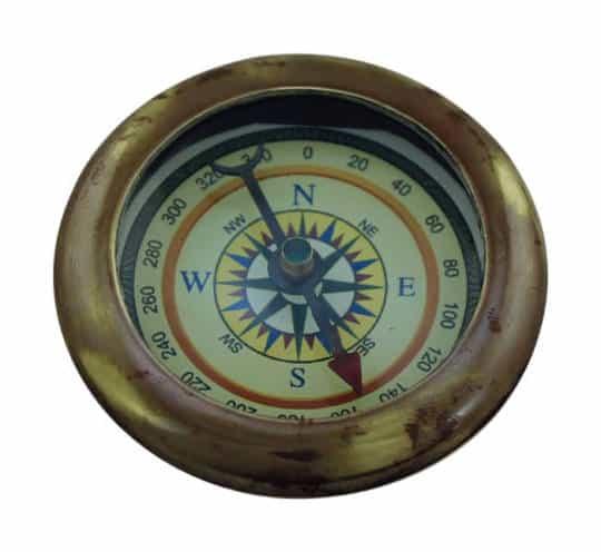 dünner Kompass aus antikem Messing von Sea Club